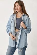 - Medium Wash Oversized Vintage Denim Shirt w/Zip Up Hoodie