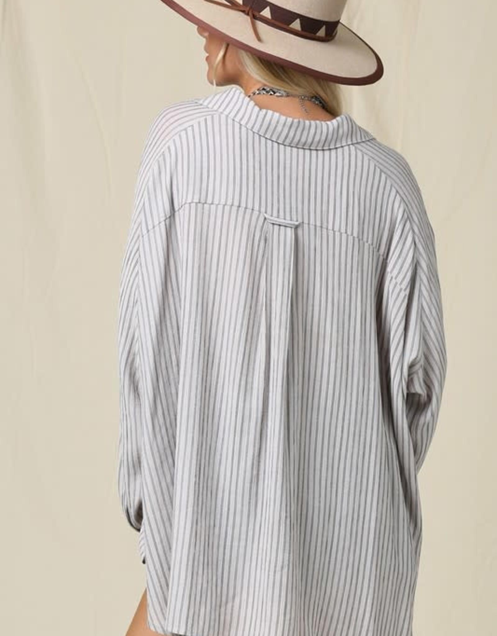 - Latte Striped Button Down Dolman Sleeve