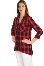 - Red Plaid Button-Front Handkerchief Top