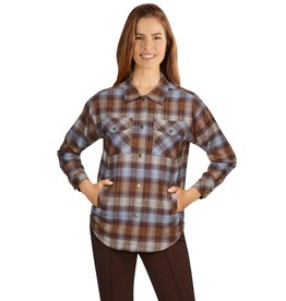 - Coffee Button-Front Flannel Plaid Top