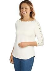 - Ivory Embellished Sleeved Top