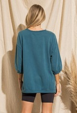 - Teal Graphic Puff Sleeve w/ Distressed Hem Detail
