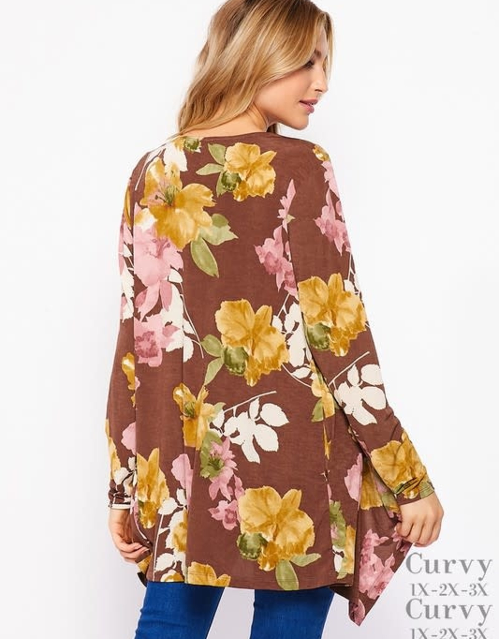 - Brown/Olive Autumn Floral Open Cardigan