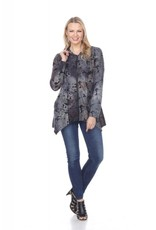 - Blue/Brown Velvet Hooded Zip-Up Jacket w/Pockets