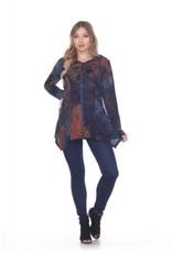 - Rust/Blue Razor Stitch Flower Velvet Hooded Zip-Up Jacket