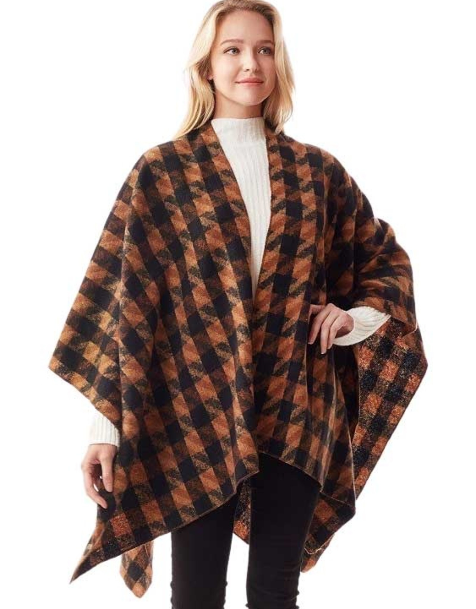 - Brown/Black Checkered Pattern Cashmere Feel Ruana