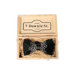 7 Downie St. 7 Downie St. Feather Bow Tie Black / Mid Dots