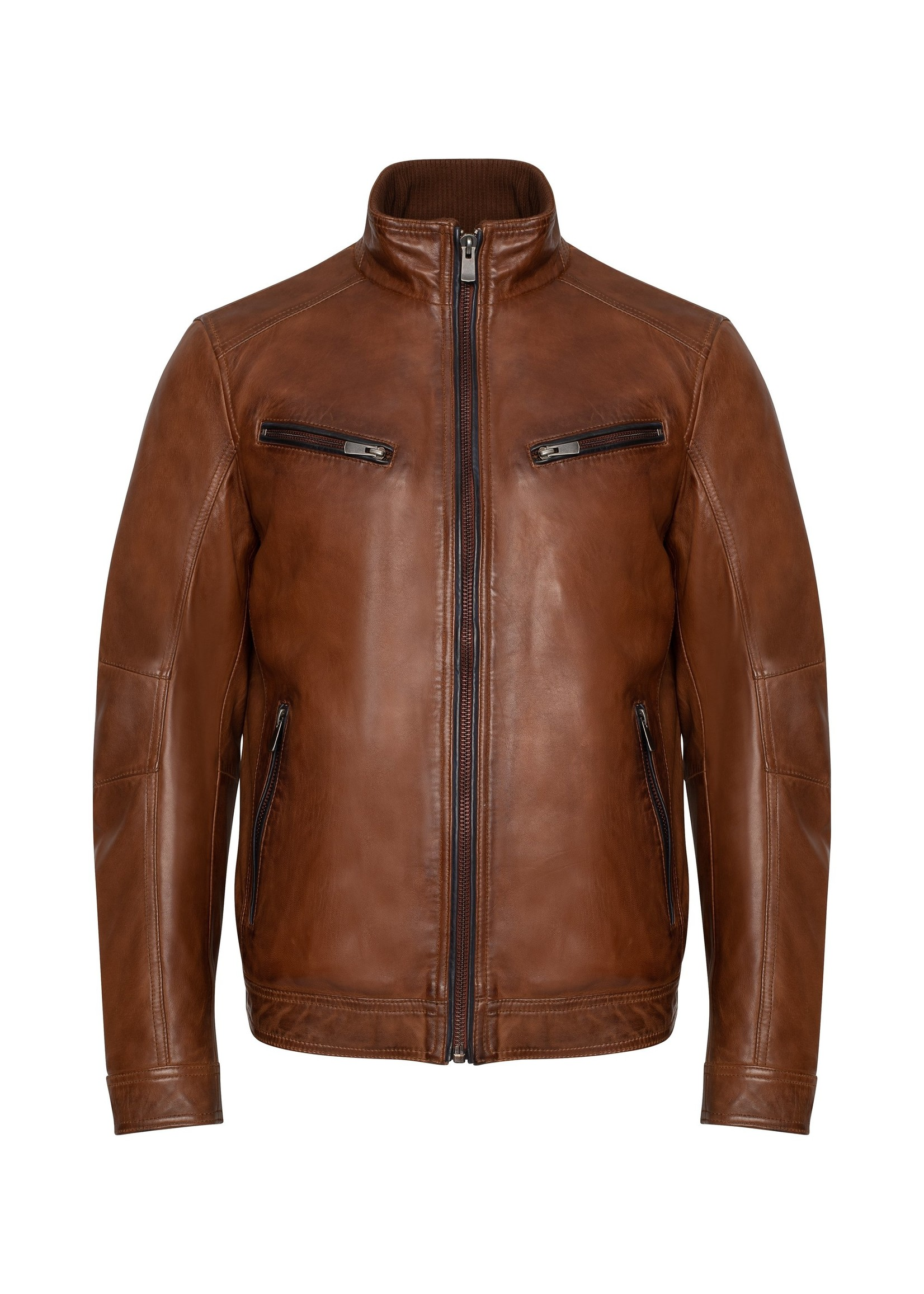 Regency By Lamarque Collection GUNNAR Contrast Piping Leather Jacket