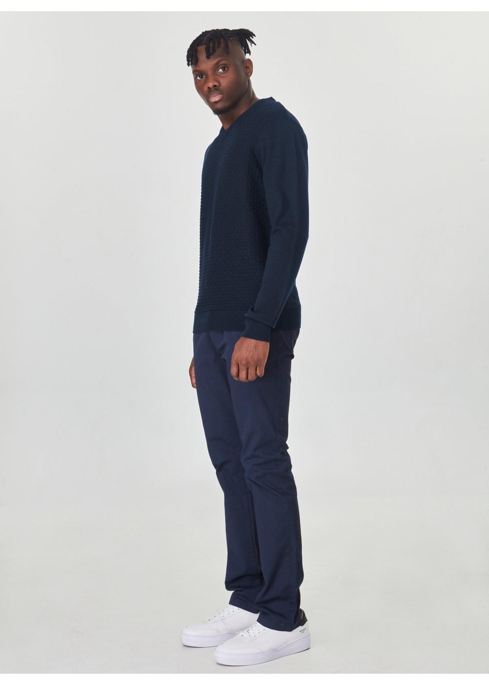 Point Zero Point Zero Brick Stitch V-Neck Sweater