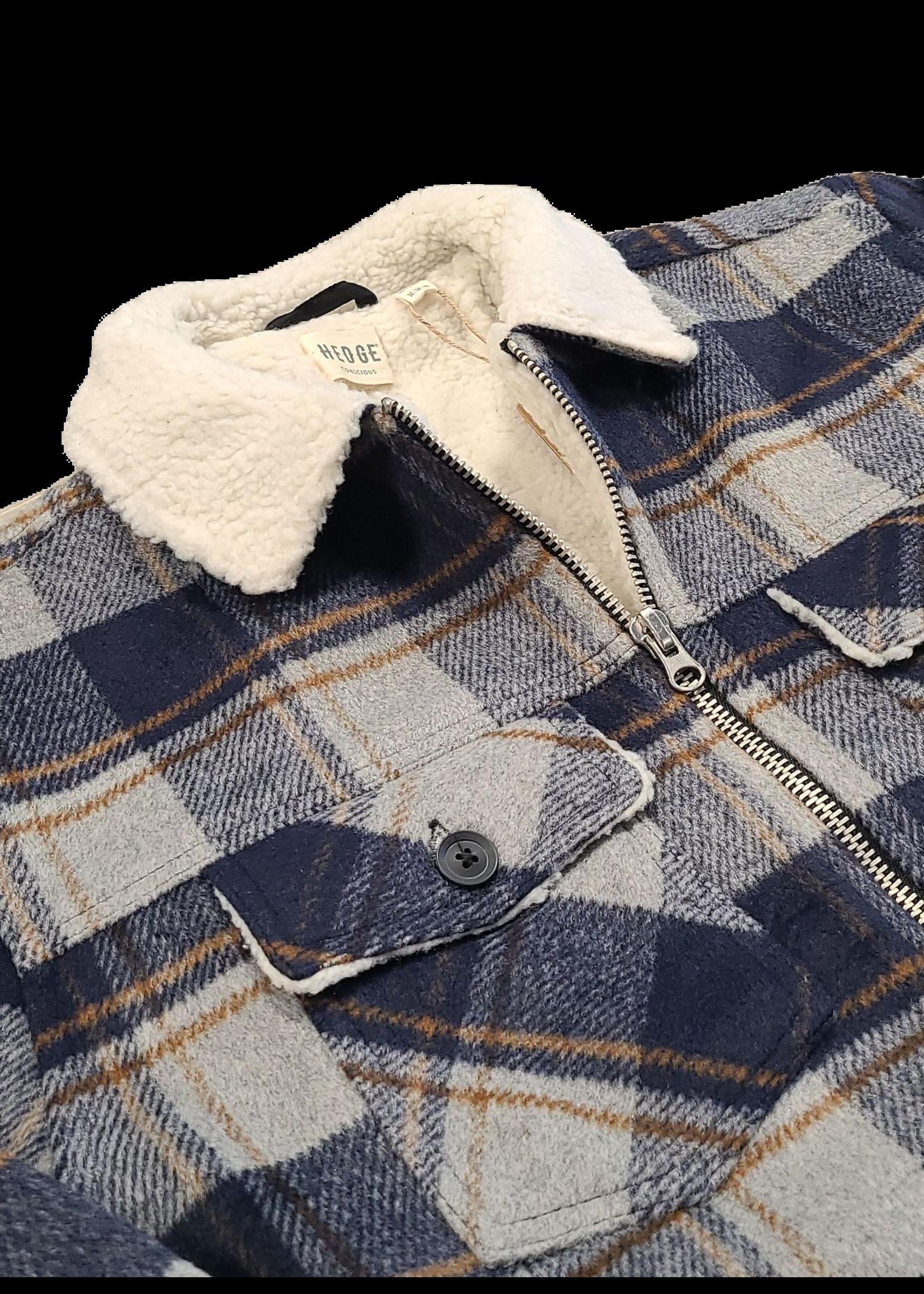 Hedge Hedge Woven Plaid Sherpa Jacket 73W066B