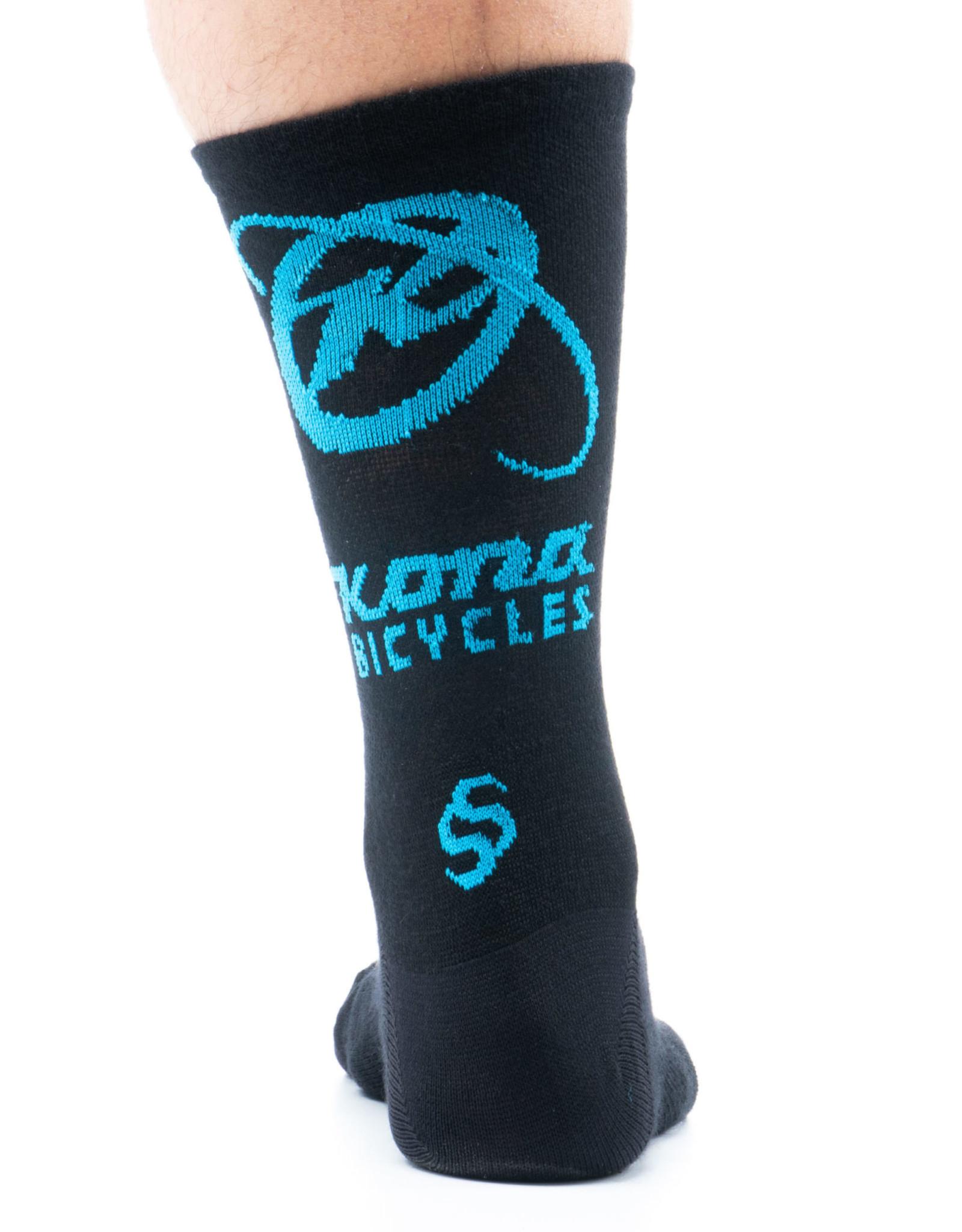 Kona Kona Wool Socks Black and Cyan LG
