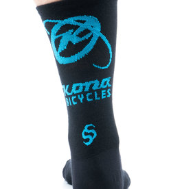 Kona Kona Wool Socks Black and Cyan LG