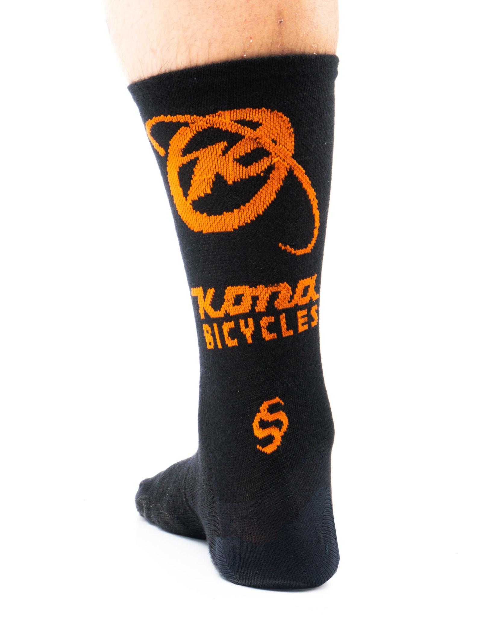 Kona Kona Wool Socks Black and Orange XL