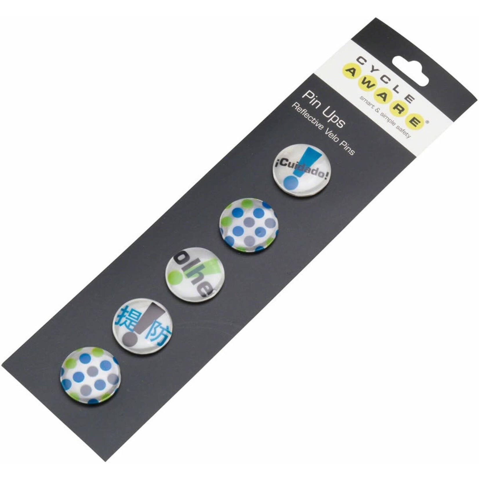 CycleAware Pin Ups Reflective Velo pins