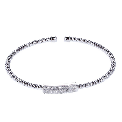Elle .925 Rhodium Plated CZ Flex Ribbed Cuff