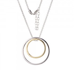 Elle .925 Rhodium and Yellow plated Double Circle Pendant