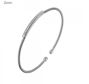 Elle .925 CZ Bar Rhodium Plated Cuff