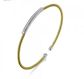 Elle .925 Rhodium and Yellow Plated CZ Flex Cuff