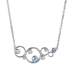 Elle .925 Rhodium Plated Blue Topaz Bubble Necklace
