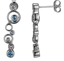Elle .925 Rhodium Plated Blue Topaz Bubble Earrings