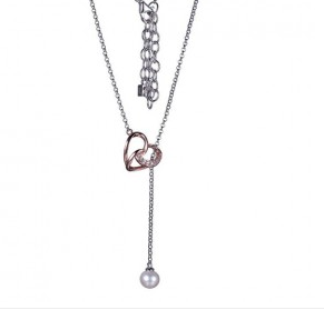 Elle .925 Rhodium and Rose Plated Pearl and CZ Heart Necklace