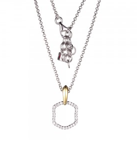 Elle .925 Rhodium and Yellow Plated CZ Pendant