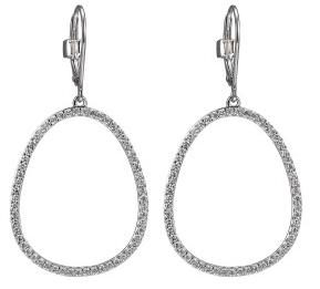 Elle .925 Rhodium Plated CZ Halo Dangle Earrings