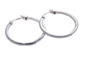 Elle .925 Rhodium Plated CZ Inside Out Hoop Earrings