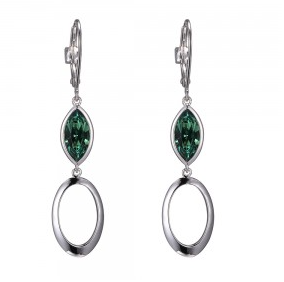 Elle .925 Swarovski Erinite Marquise  Dangle Earrings