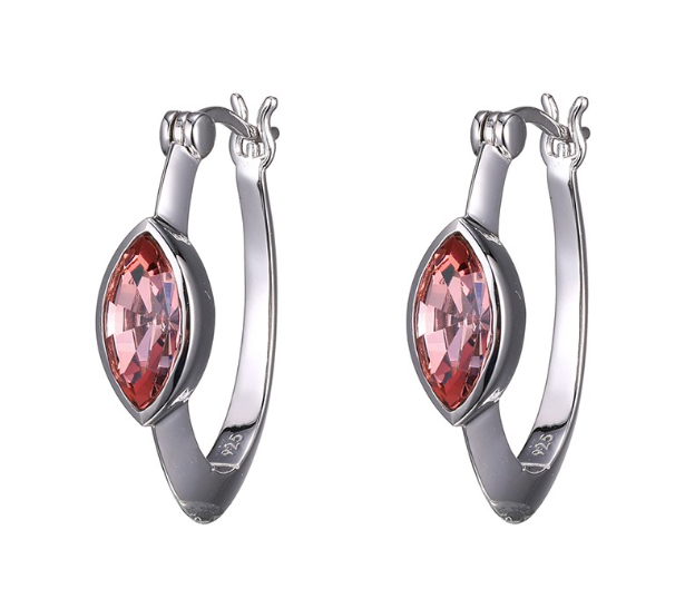 Elle .925 Rhodium Plated  Marquise Swarovski Antique Pink Hoop Earrings