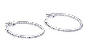 Elle .925 Rhodium Plated CZ Inside Out Hoop Earrings