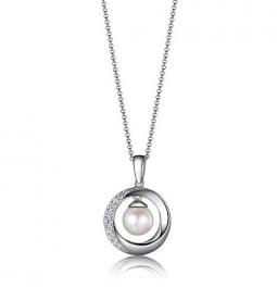 Elle .925 CZ Circle Pearl Pendant