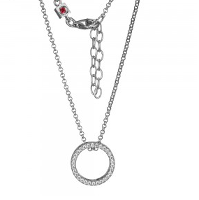 Elle .925 Rhodium Plated CZ  Circle Pendant