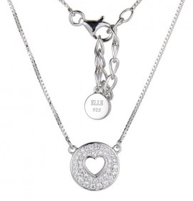 Elle .925 Rhodium Plated CZ Heart Necklace 16""