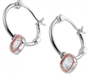 Elle .925 Silver and Rose Cushion CZ Accented Hoop Earrings
