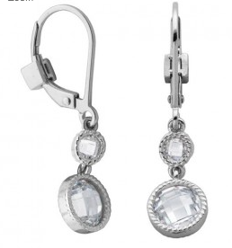 Elle .925 Dangle Bezel Set CZ Earrings