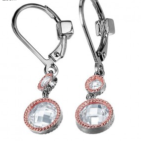 Elle .925 Rhodium Plated and Rose CZ Dangle Earrings