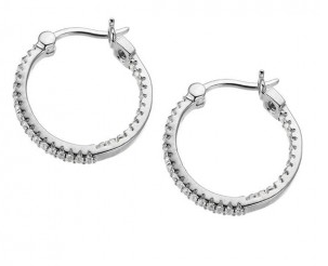Elle .925 Rhodium Plated CZ Hoop Earrings
