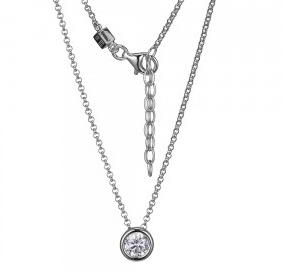 Elle .925 Rhodium Plated Solitaire CZ Necklace