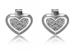 Elle .925 Rhodium Plated CZ Heart Stud Earrings