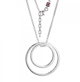 "Elle .925 Rhodium Plated Double ""O"" Necklace"