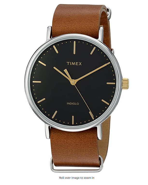 Timex Fairfield 41 Brown Leather Slip-Thru Strap Watch