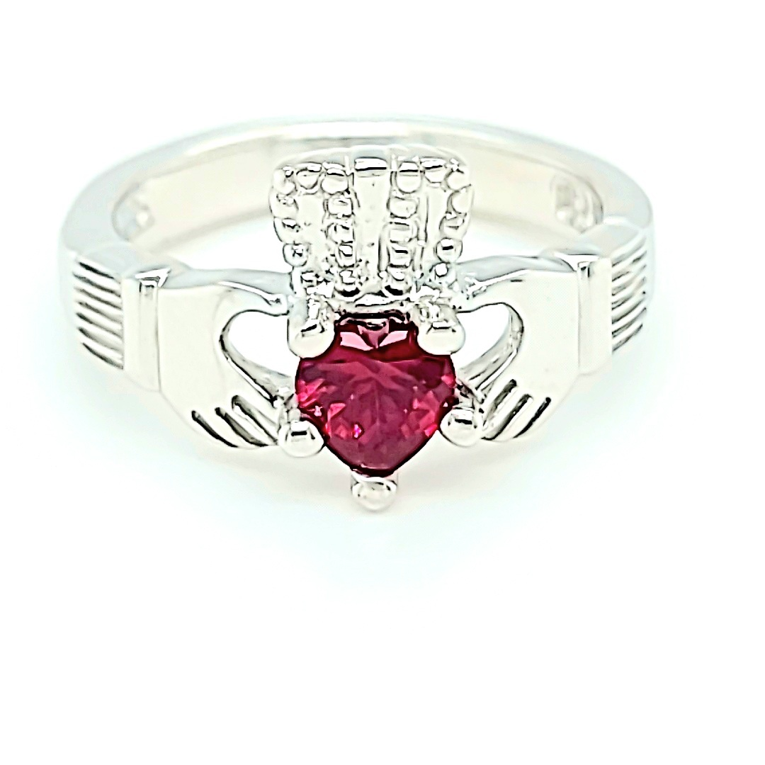 .925 Birthstone Claddagh Ring