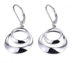 Elle .925 Rhodium Plated Dangle Circle Earrings