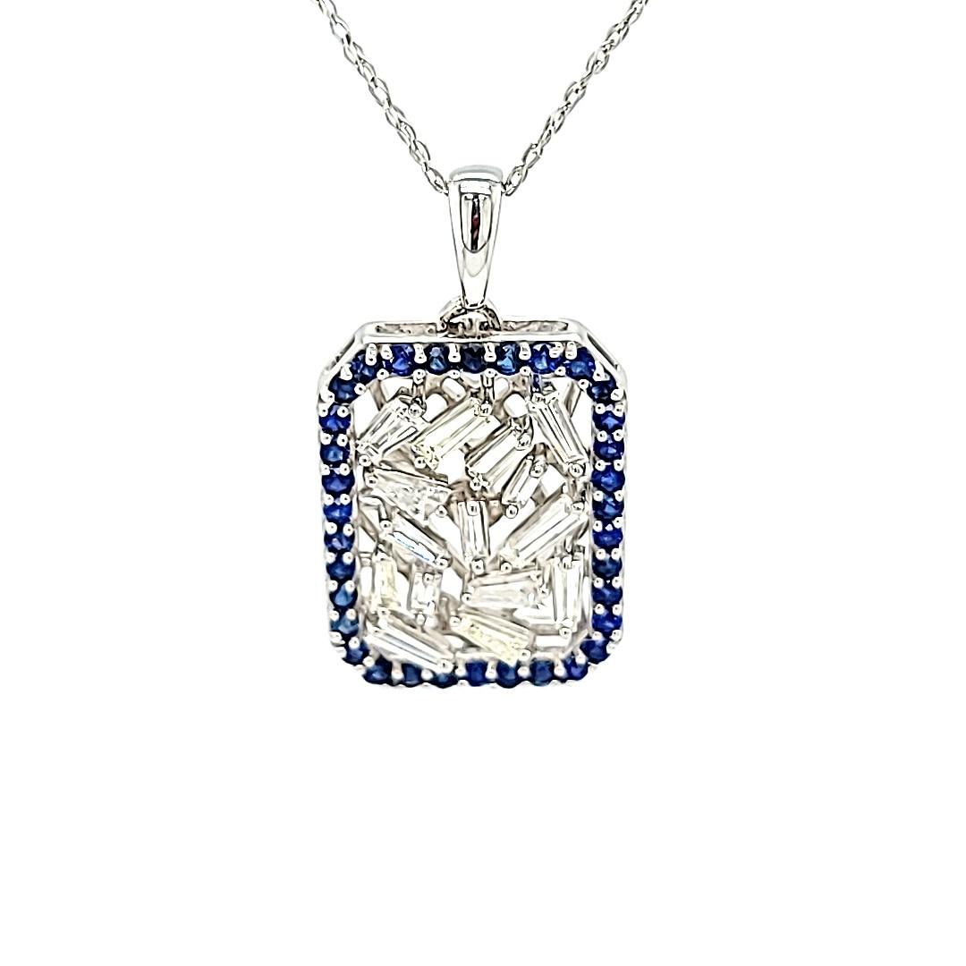 14KW Diamond 0.84CTTW Baguette Pendant With a Sapphire Halo