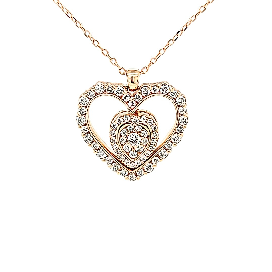 14KR Convertible Diamond Heart Pendant .50CTTW
