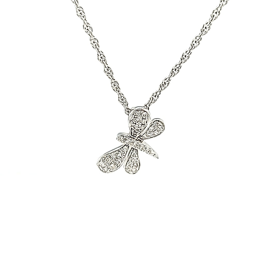 14KW Diamond Dragonfly Pendant