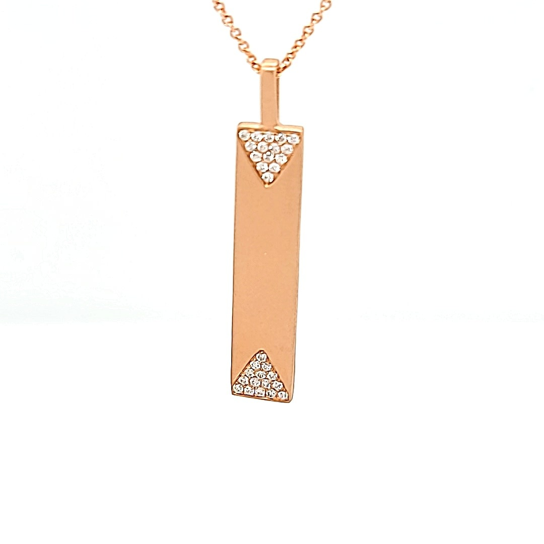 14KR Diamond Vertical Bar Pendant. 1/8TW