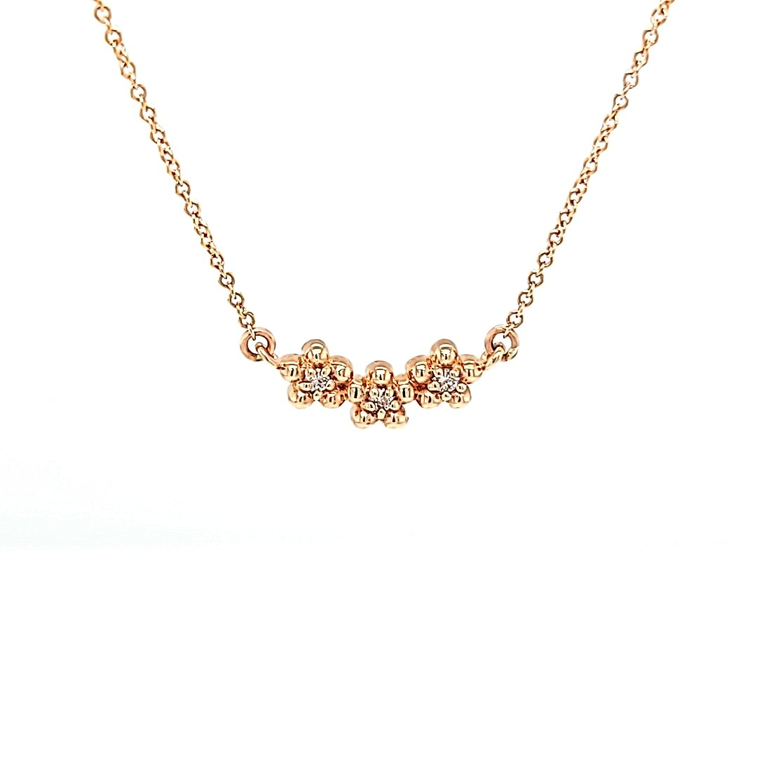 14KR Diamond Flower Necklace 0.05CTTW