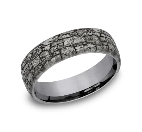 Benchmark 6.5mm Tantalum grey stone wall wedding band
